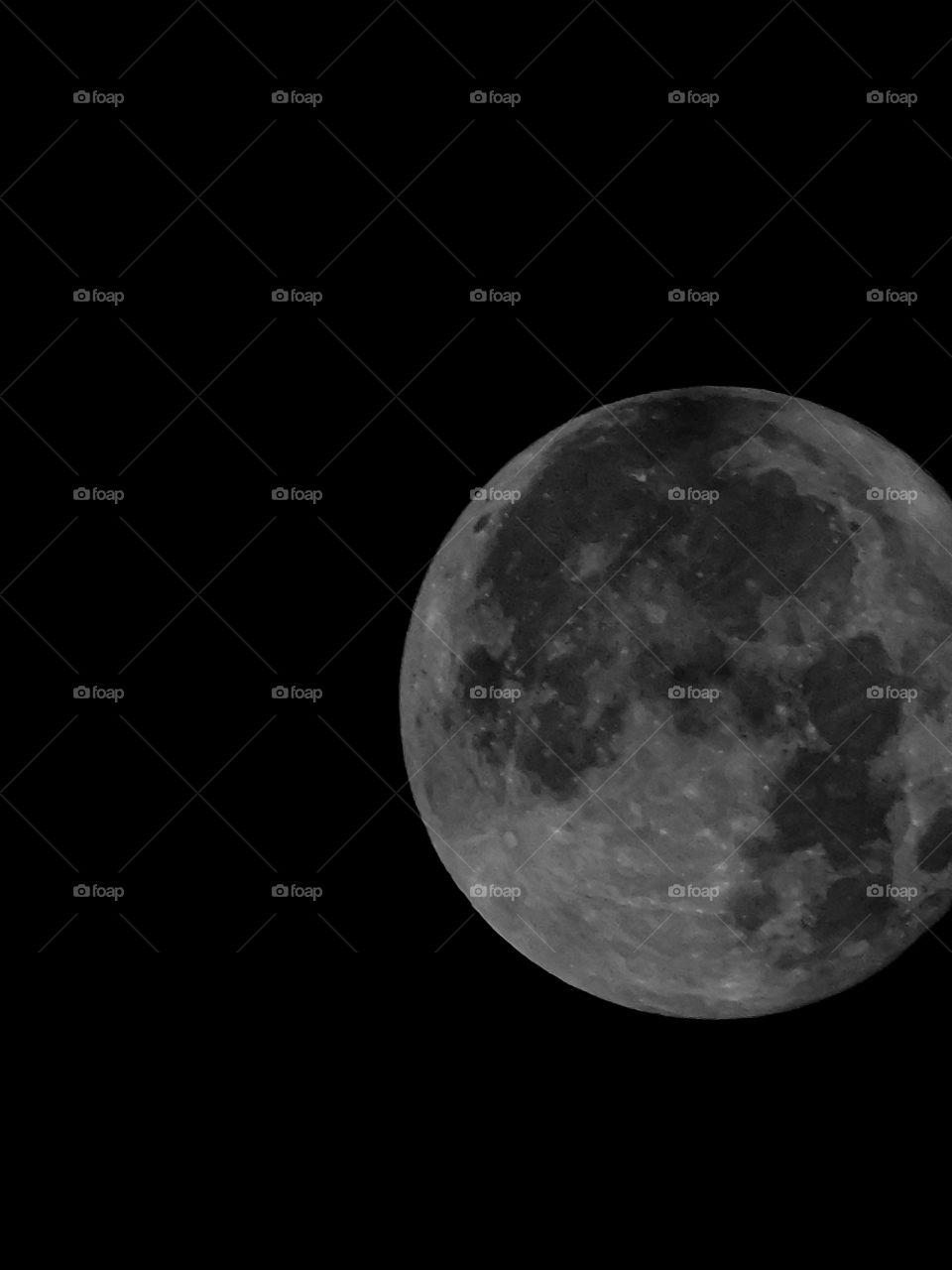Full Moon with Dark Black background