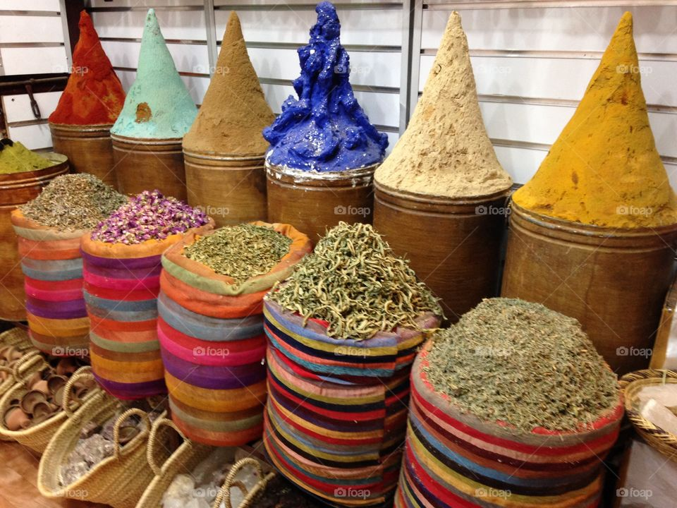 Colorful Spices in Marrakesh Market