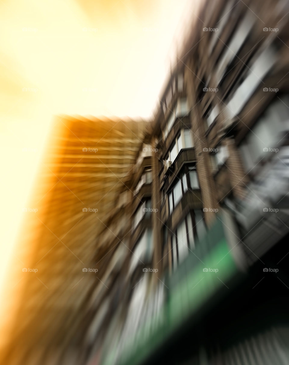 Blurred futuristic office buildings abstraction