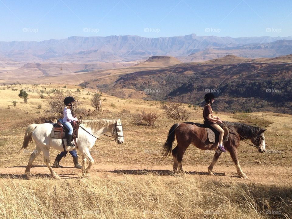 Horse ride in the Drakensberg mountains