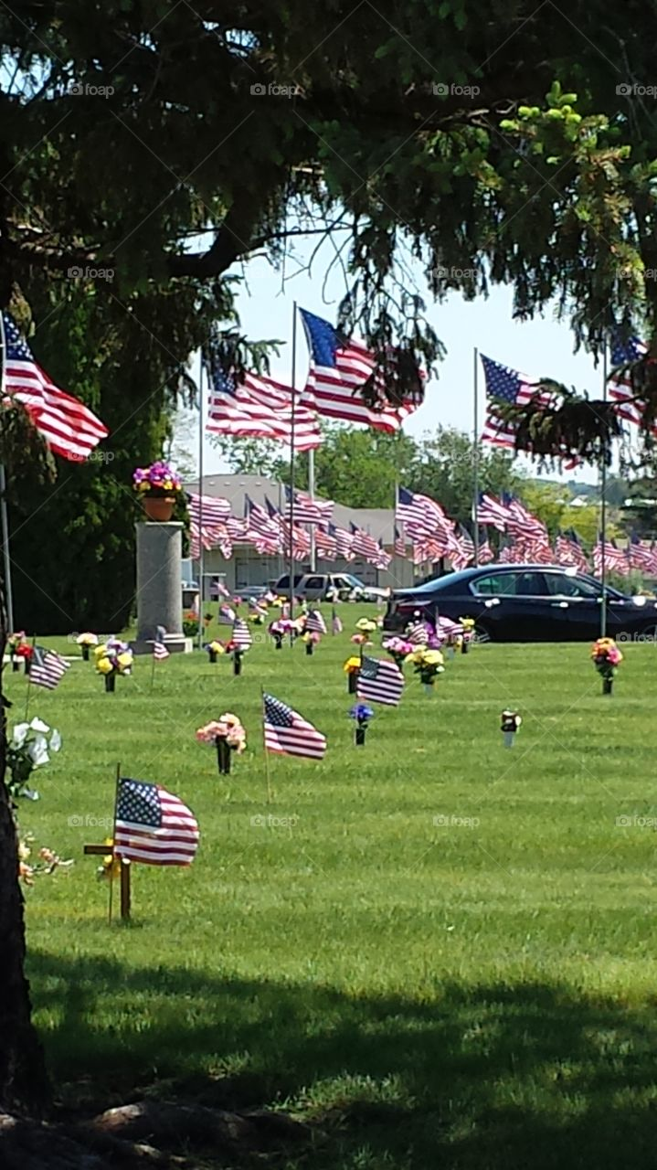 Memorial day at the cemetery.