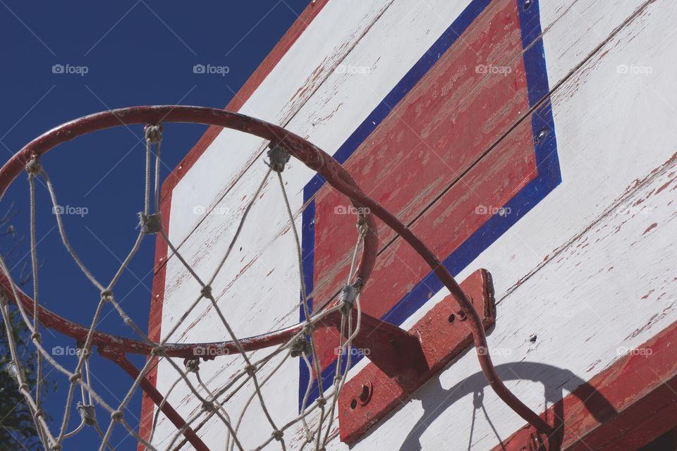 Close-up of basketball hoop