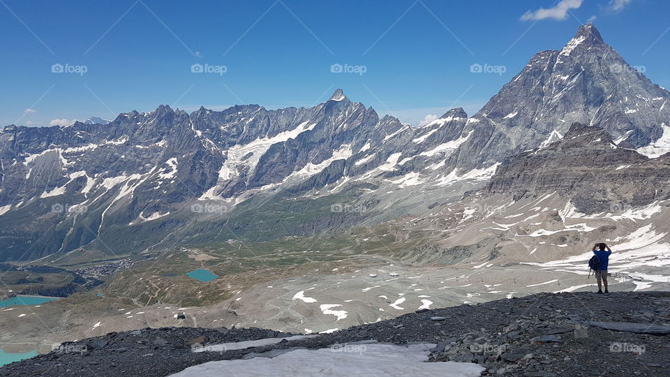 Hiking in the Alps on high altitude in Cervinia Italy