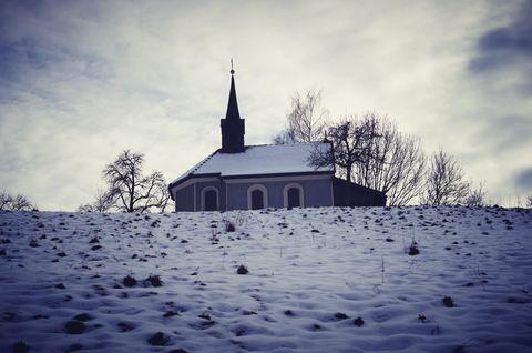 beautiful church on winter background