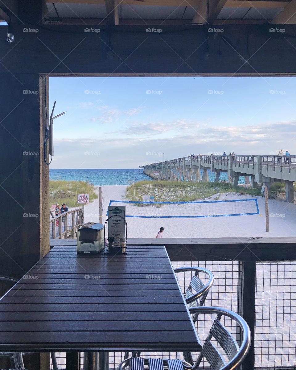 Window view of the beach