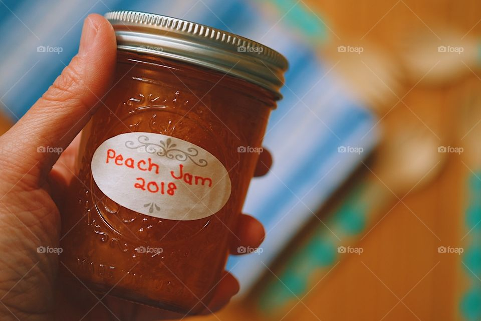Hand Holding Peach Jam, Peach Jam In A Glass Jar, Homemade Peach Jam, Rustic Peach Jam, Reduce Reuse Recycle, Plastic Free Living In The Kitchen, Environmentally Conscious