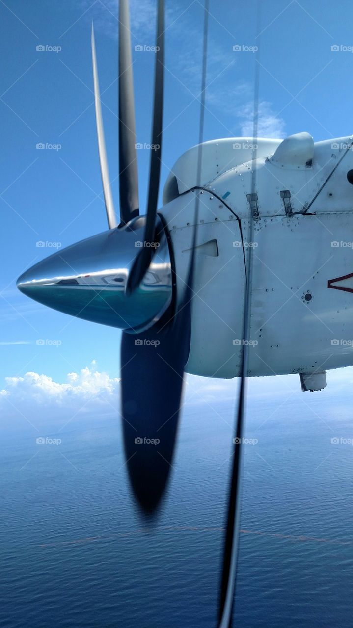 Close-up of airplane's propeller