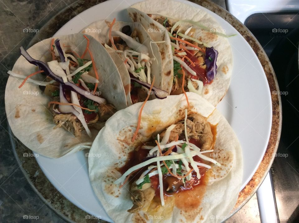 Fish tacos. Plate of home made fish tacos