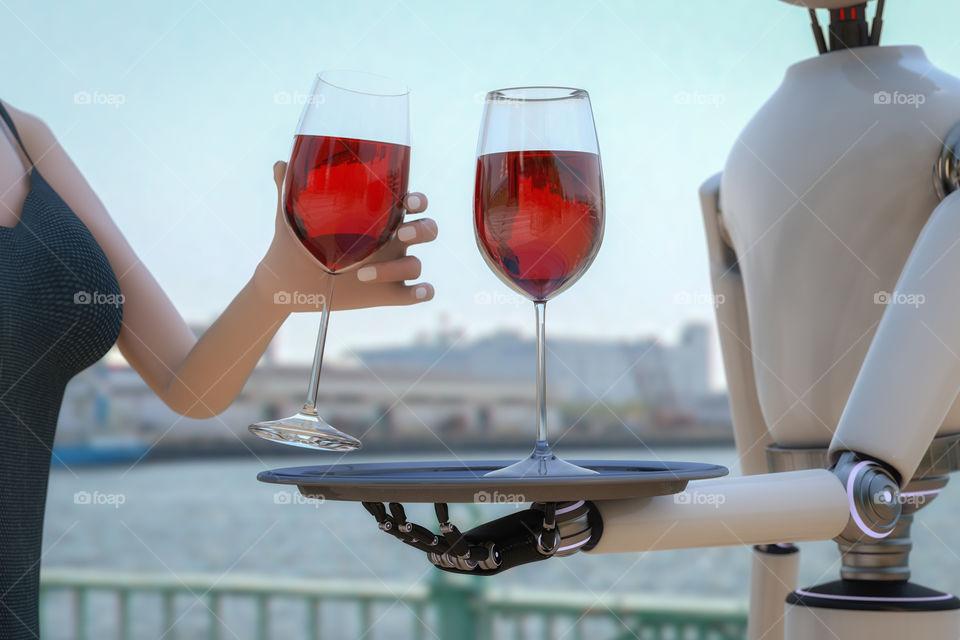 A robot serving wine