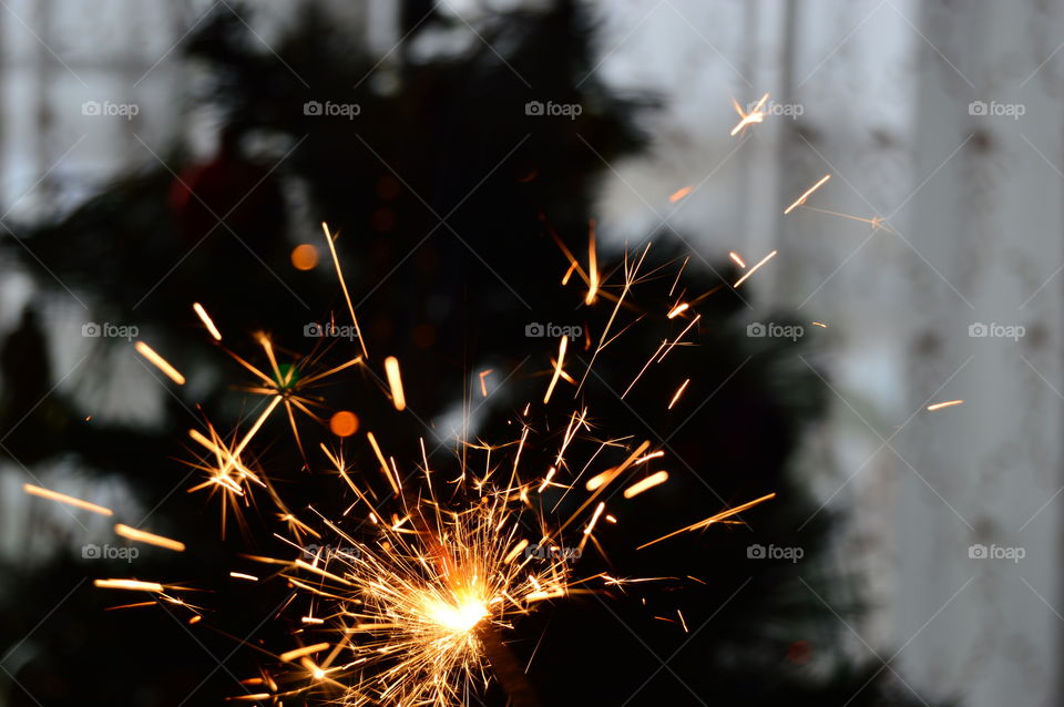 New Year, Christmas, toy, garland, tinsel, sparkler,