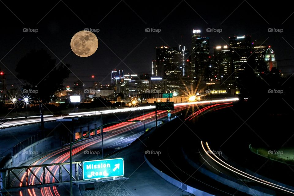downtown Los Angeles, traffic, and the super moon