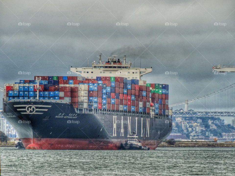 Huge Cargo Ship Entering Port. Cargo Ship On San Francisco Bay