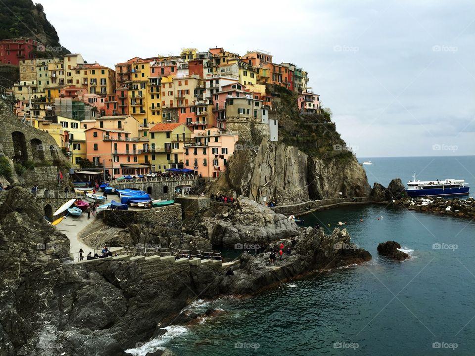 Colourful buildings in corniglia italy