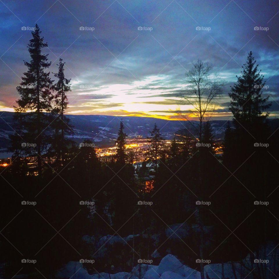 Lillehammer night lightshow
