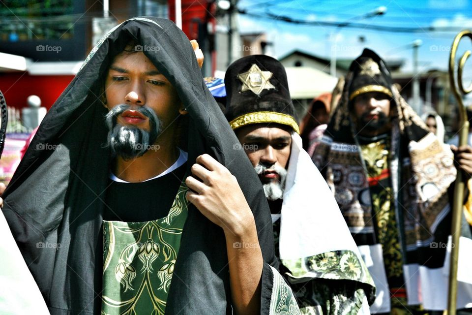 characters in the reenactment of the death of jesus christ in cainta, rizal, philippines, asia