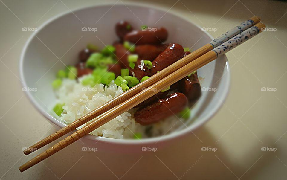 Close-up of food with chopsticks