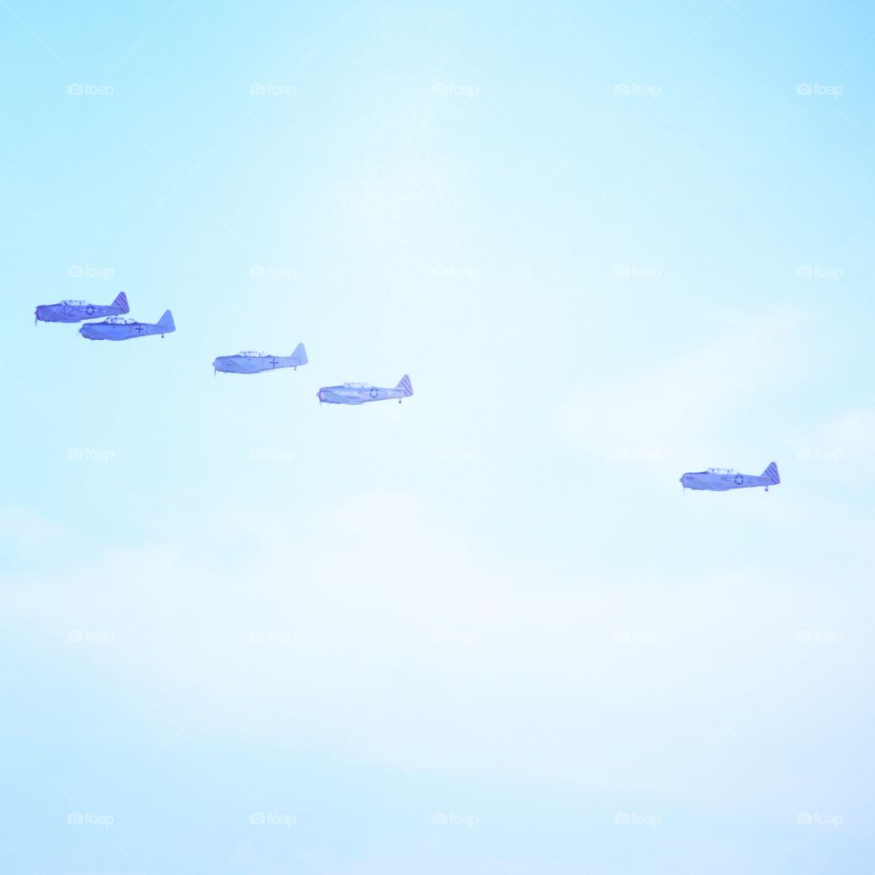 Flight of vintage planes