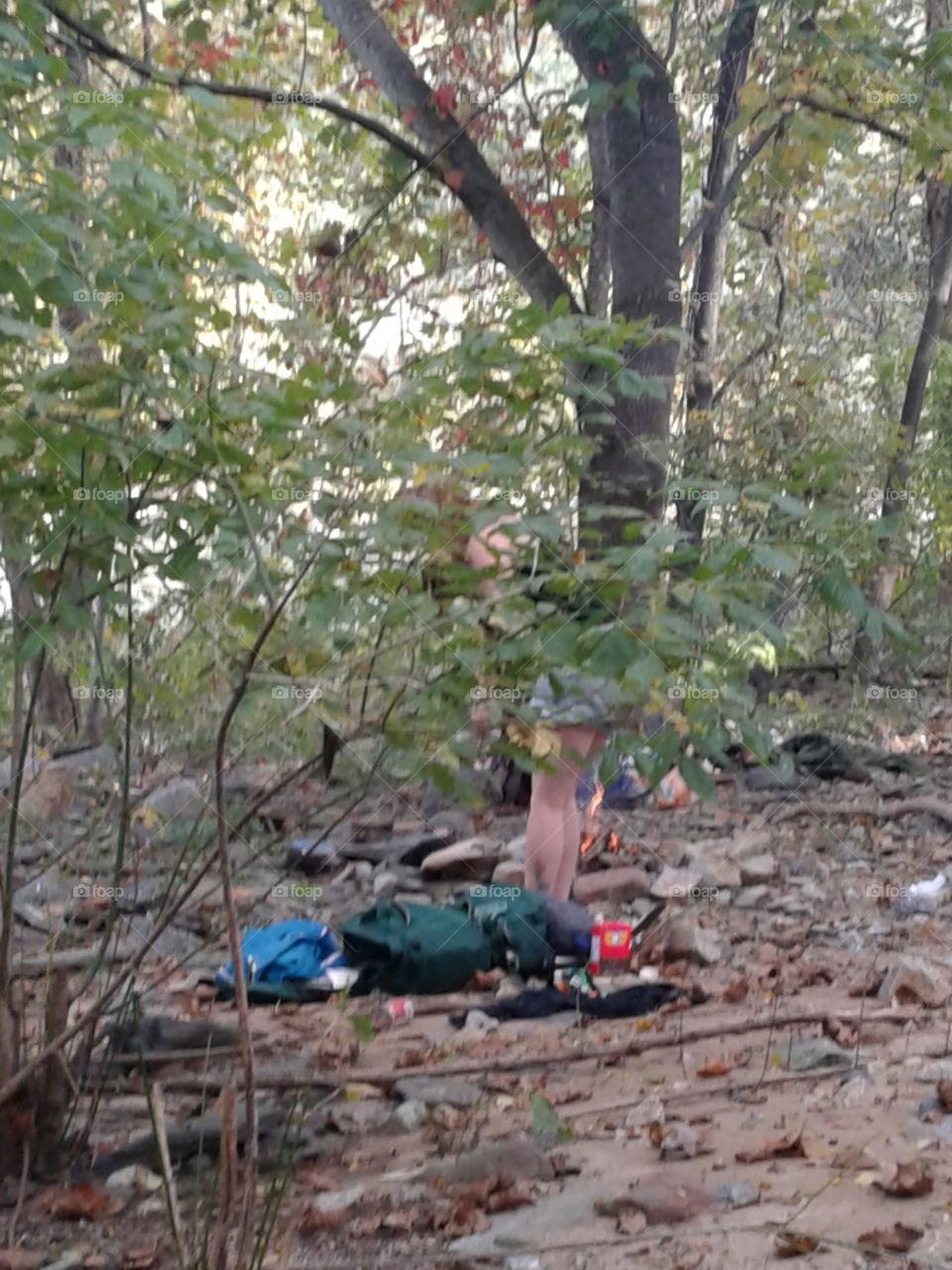 Hippy in woods