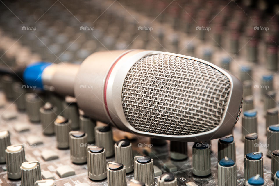 Microphone on audio mixing console