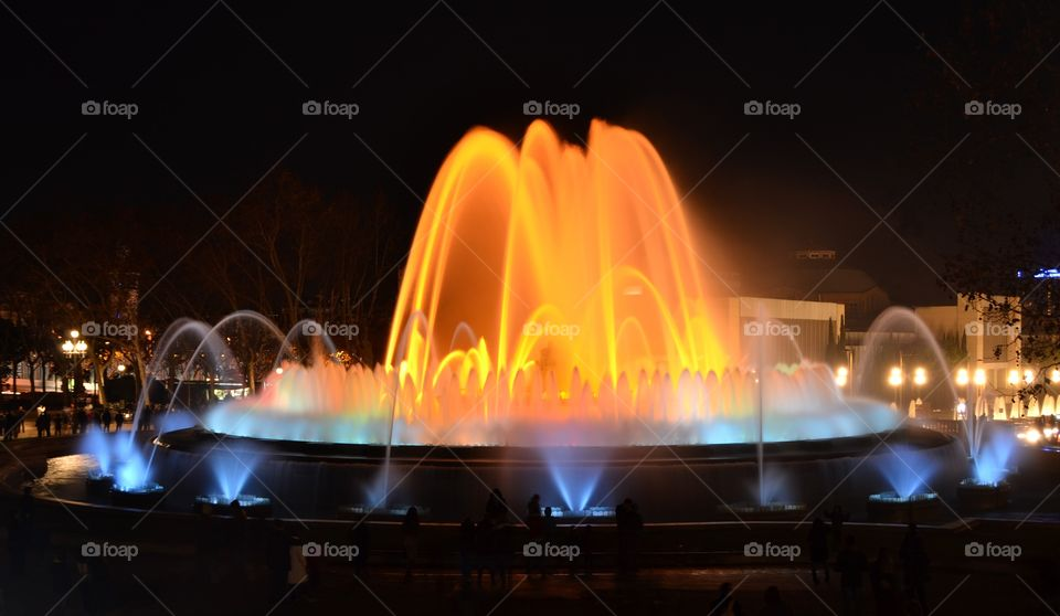 The Magic Fountain in Barcelona, Spain. Water show with colors and music