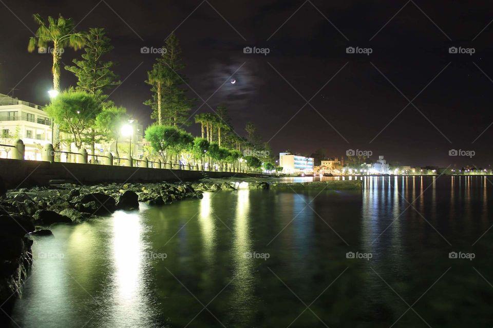 #coastline #Kos #island #night #reflection #moon #lights