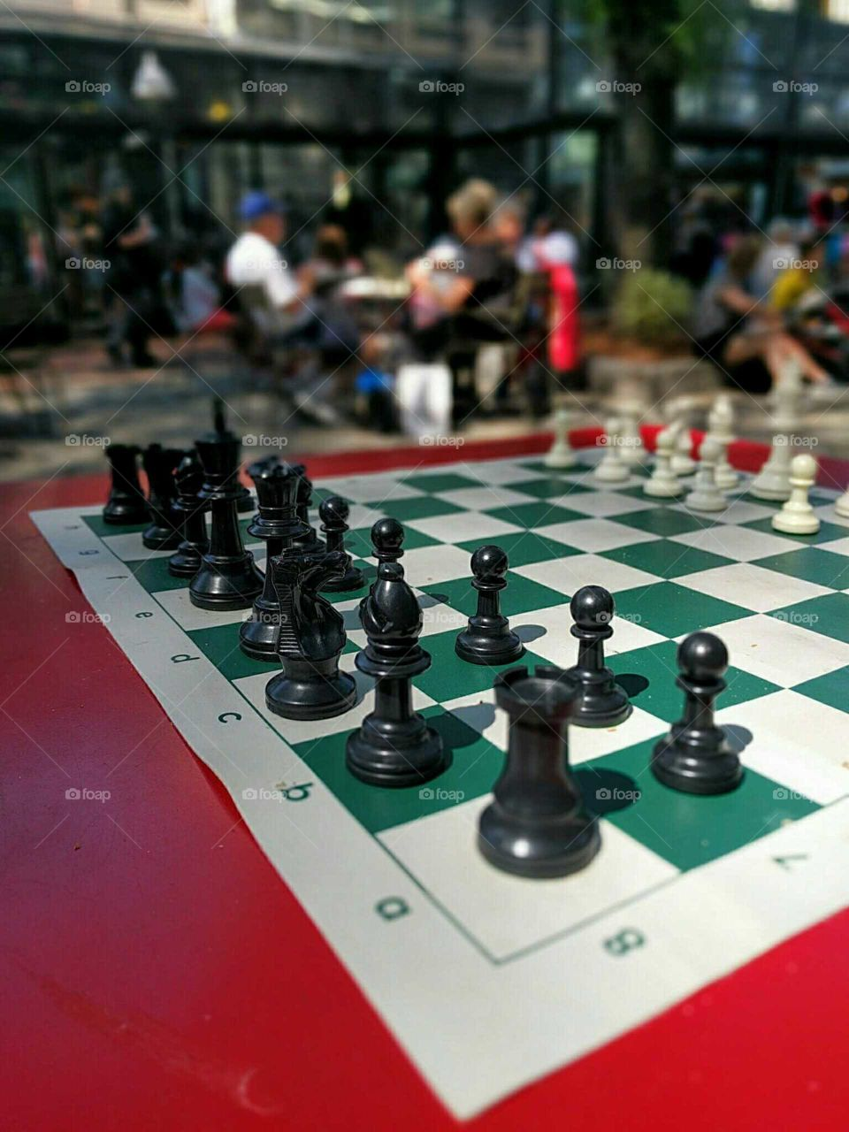 A chess set on a summer afternoon.