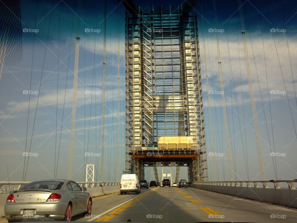 Bay Bridge. trying to get over my fear of bridges so I took this picture while my husband was driving