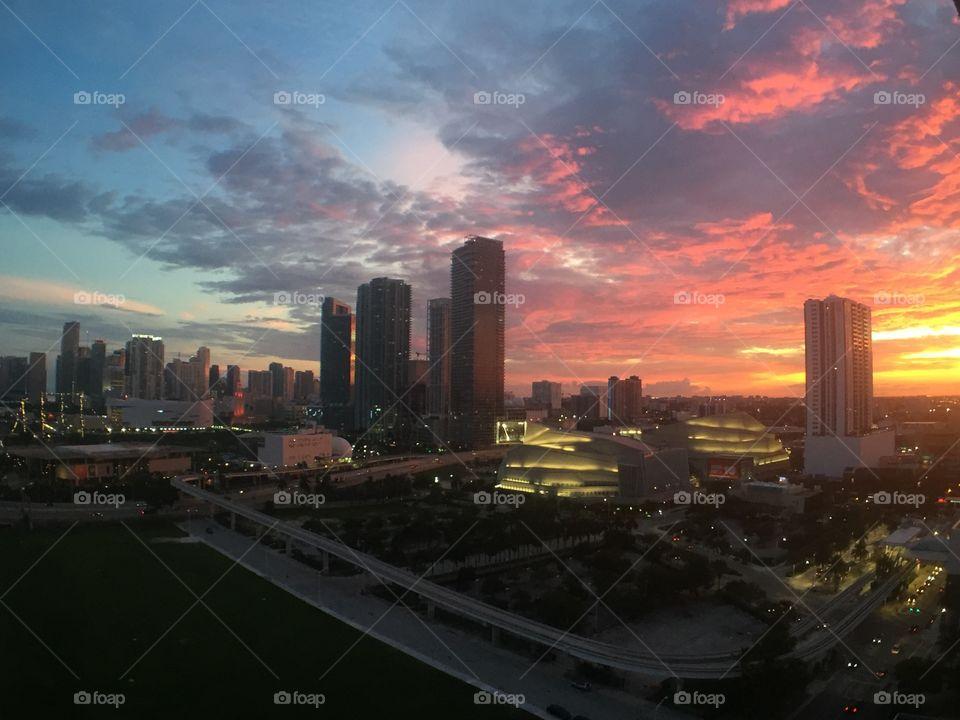 Miami sunset view
