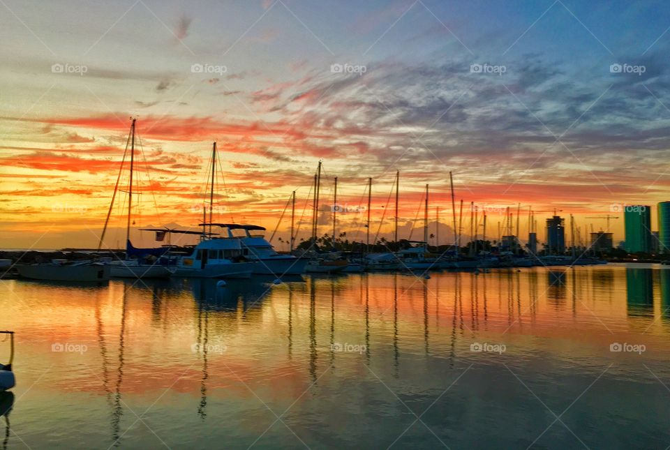 Sunset at the boat harbor