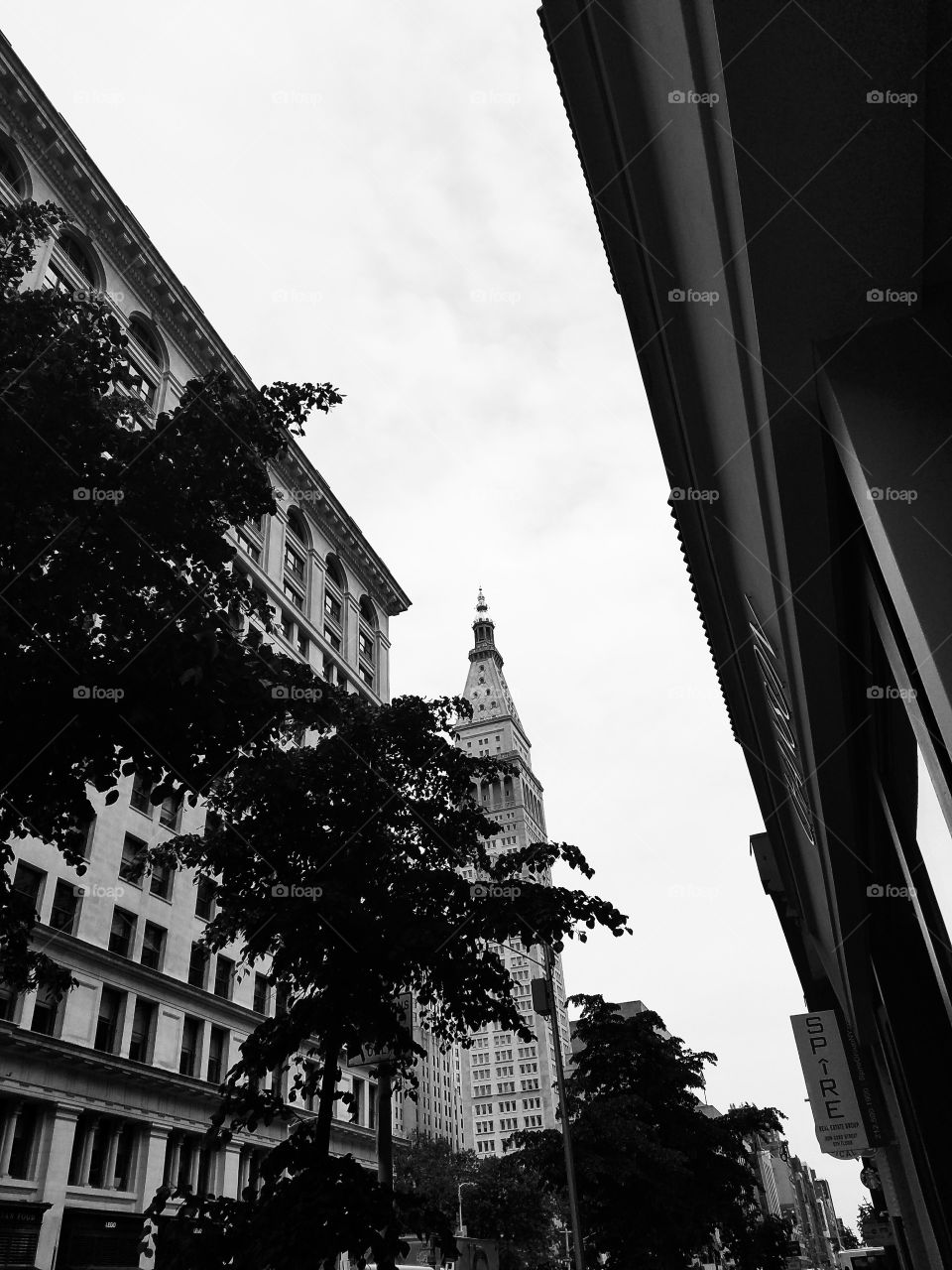 NYC Architecture in Flat Iron on 23rd Street near Madison Square Park. Taken with Android Phone. BNW Filter. May 2017.