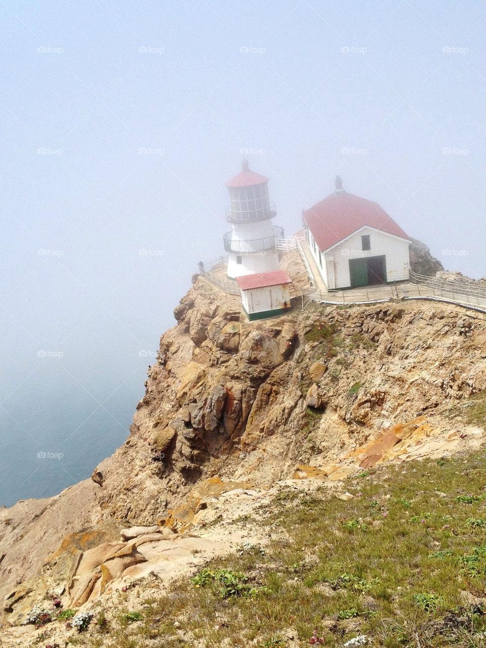 ocean fog california lighthouse by kirimoth
