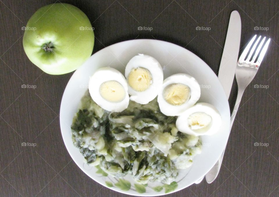 Cooked Mangold, Eggs and an Apple
