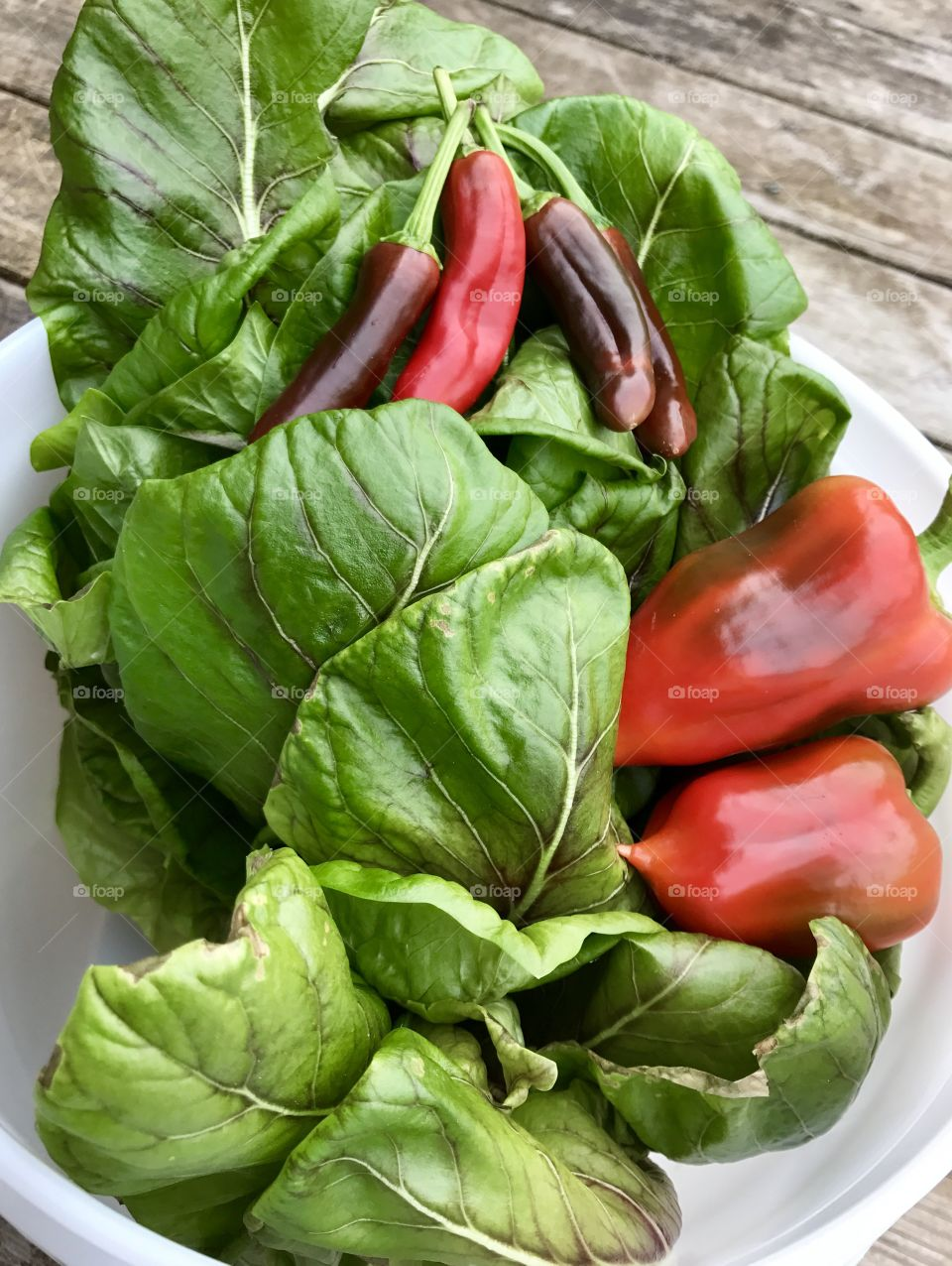 Spinach and bell pepper