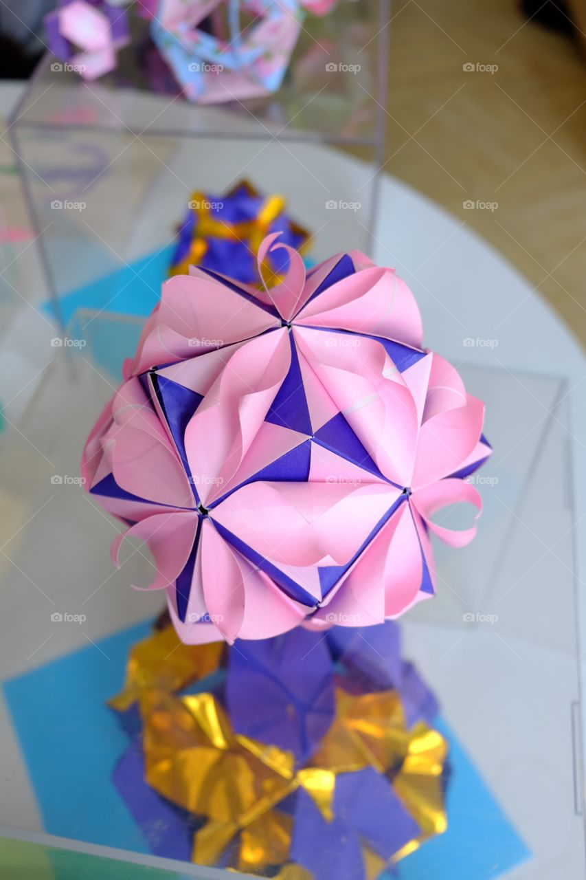 Origami paper flower, pink and purple
