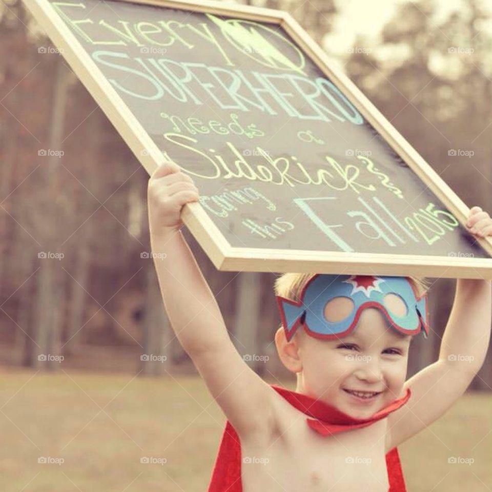 Superhero baby announcement