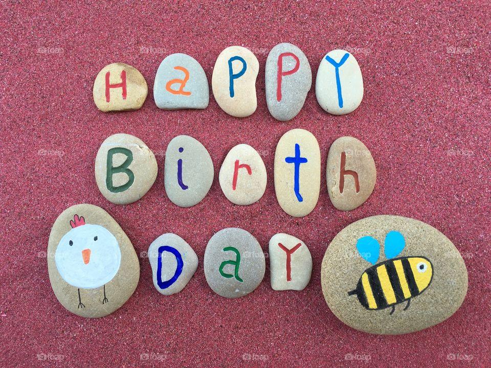 Happy Birthday with stones design