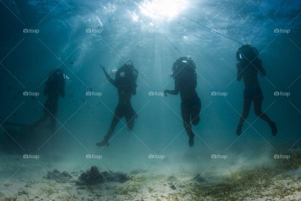 underwater | water sports, fish, water, people