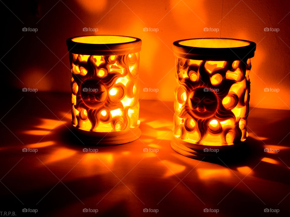Aztec style ceramic candle holders to warm the fall air