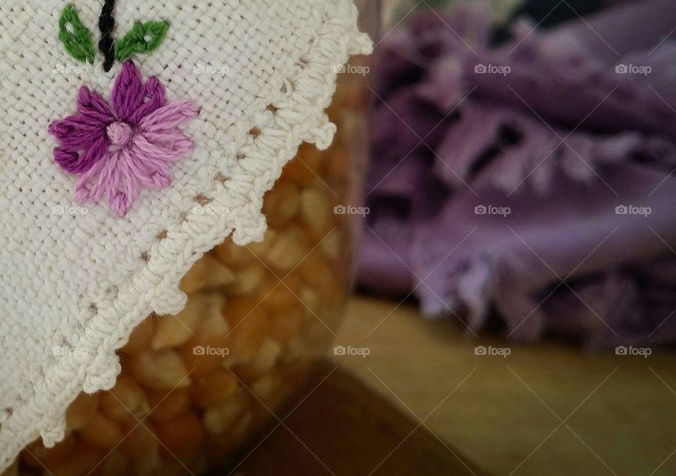 Purple Embroidered  Flower