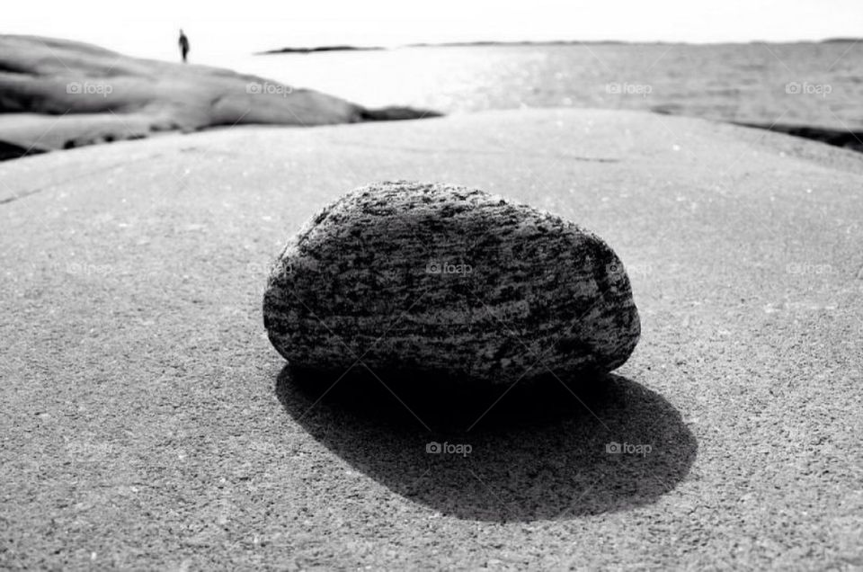 A stone and the ocean
