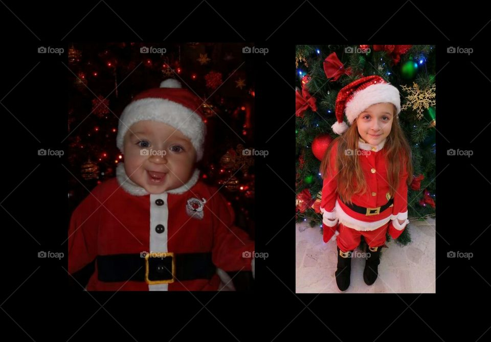 6 months old baby and the same child 6 years old . dressed as santa clause  ( father Christmas ). twin images