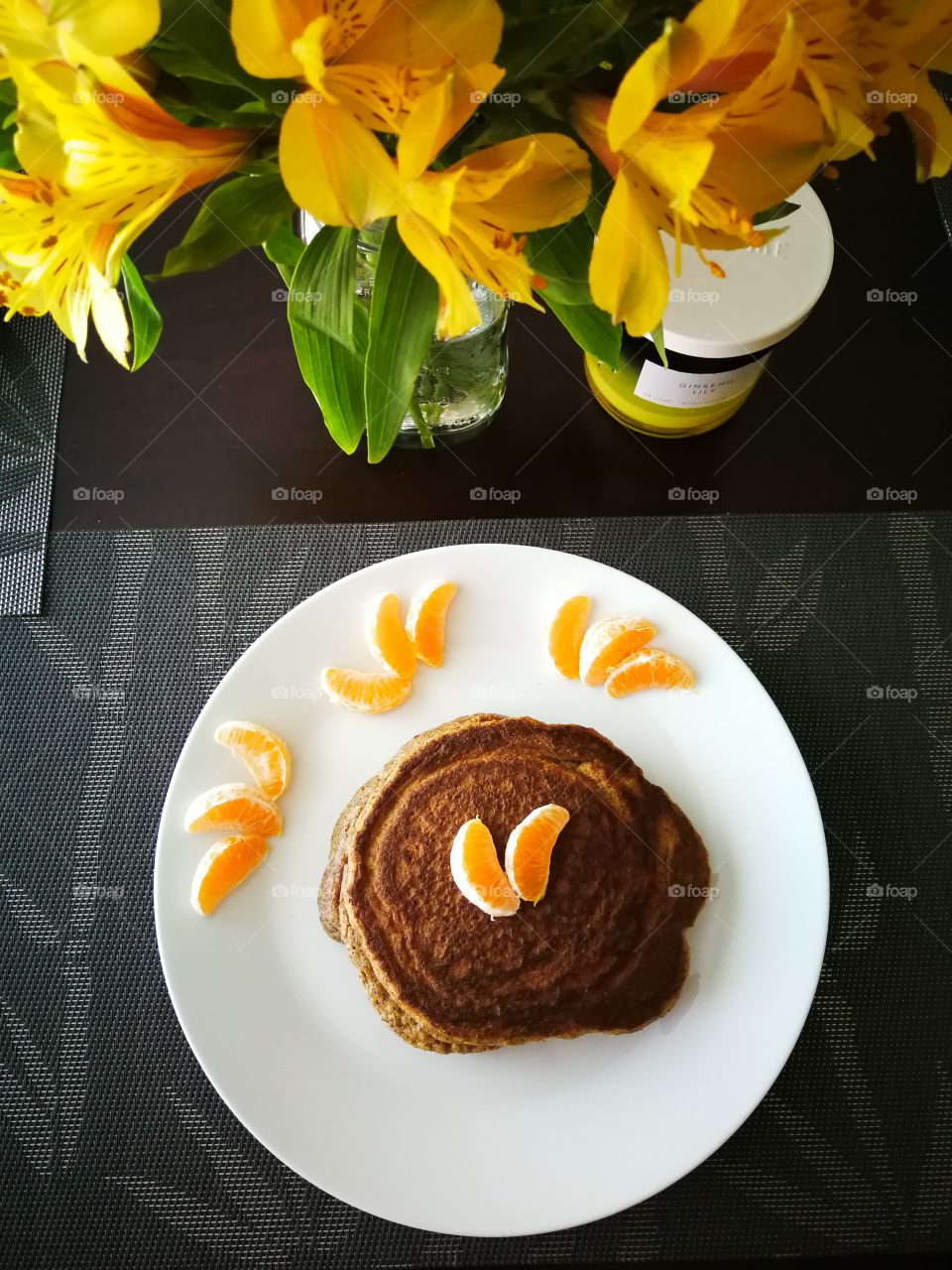 Flowers and breakfast pancakes