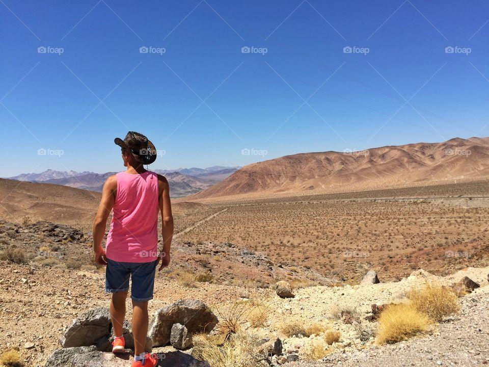 Cow boy man in the desert
