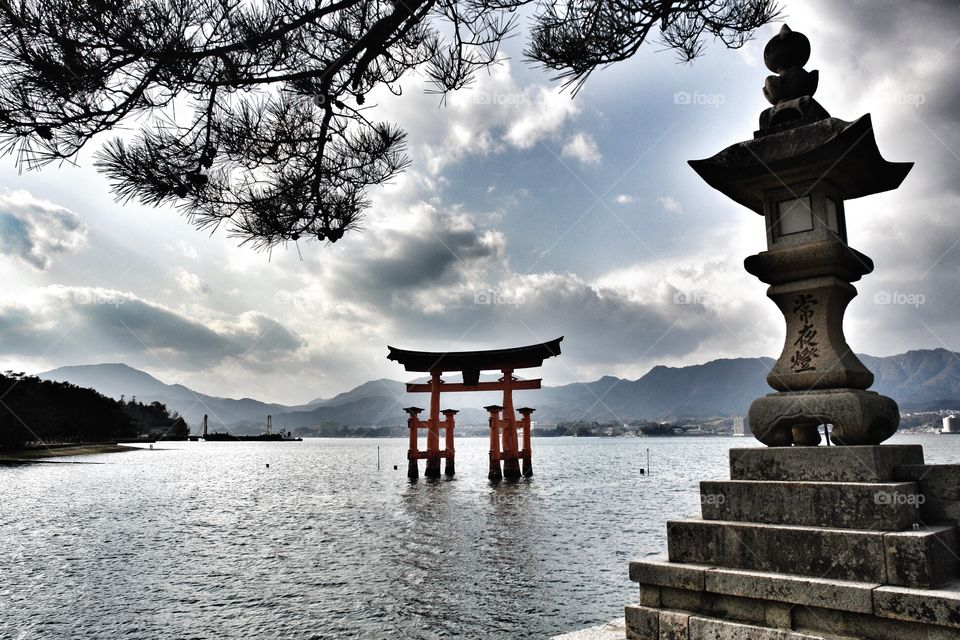 Itsukushima Shrine Gate, Miyajima Island . Itsukushima Shrine, Miyajima Island, Japan