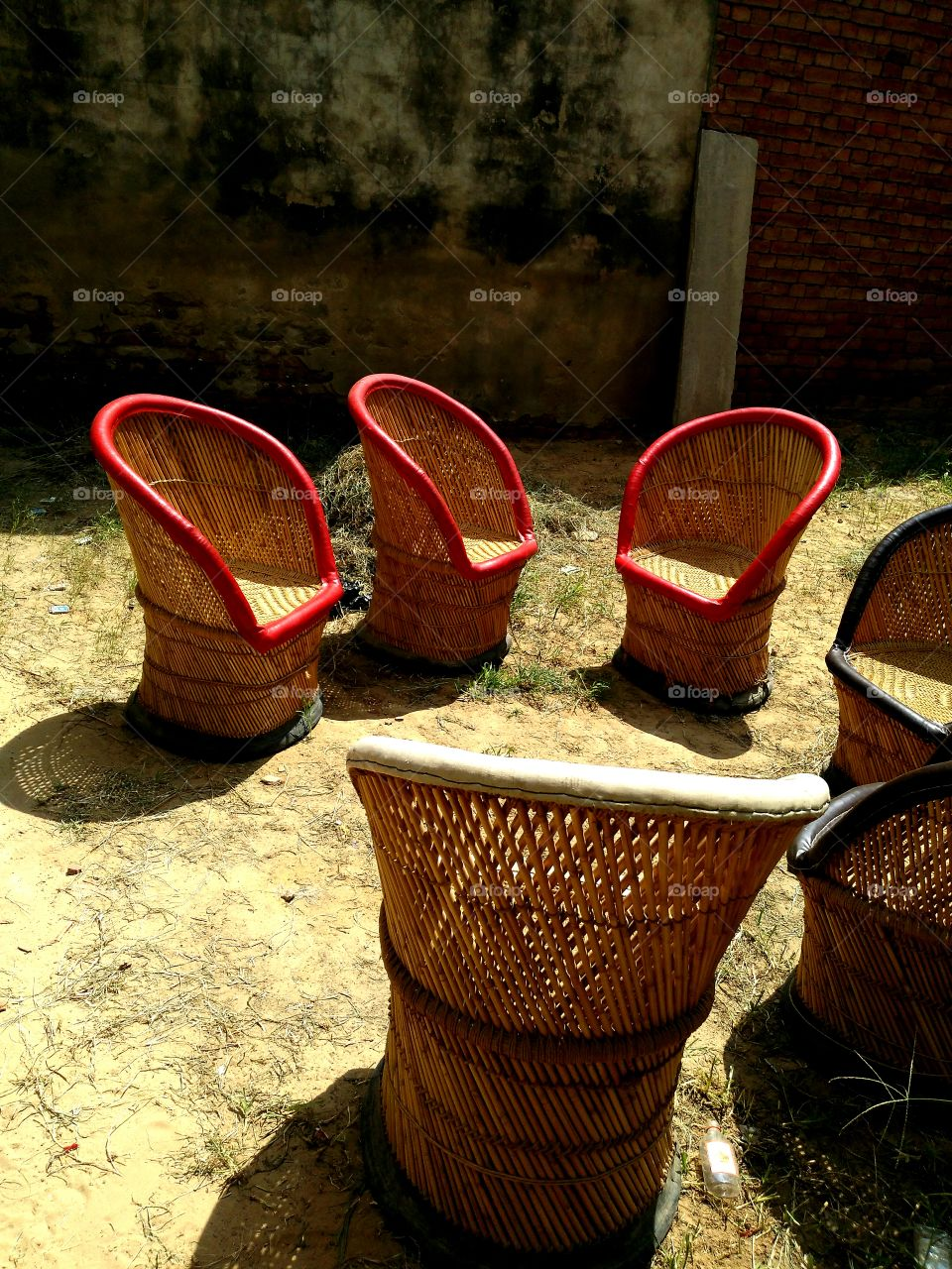 Empty wicker chairs
