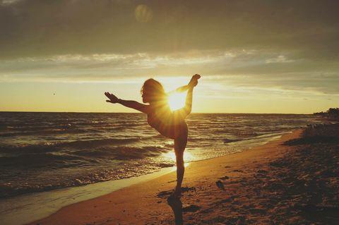 Yoga on the sunset beach