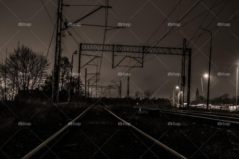 Railroad in the night
