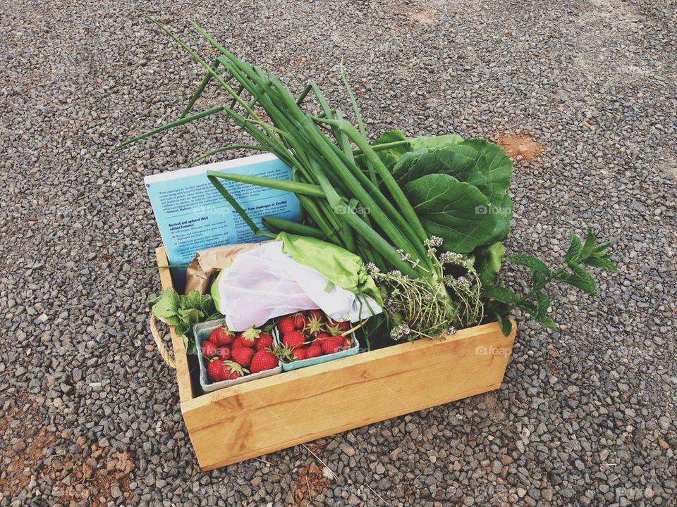 Wooden Box of Fruits and Veggies