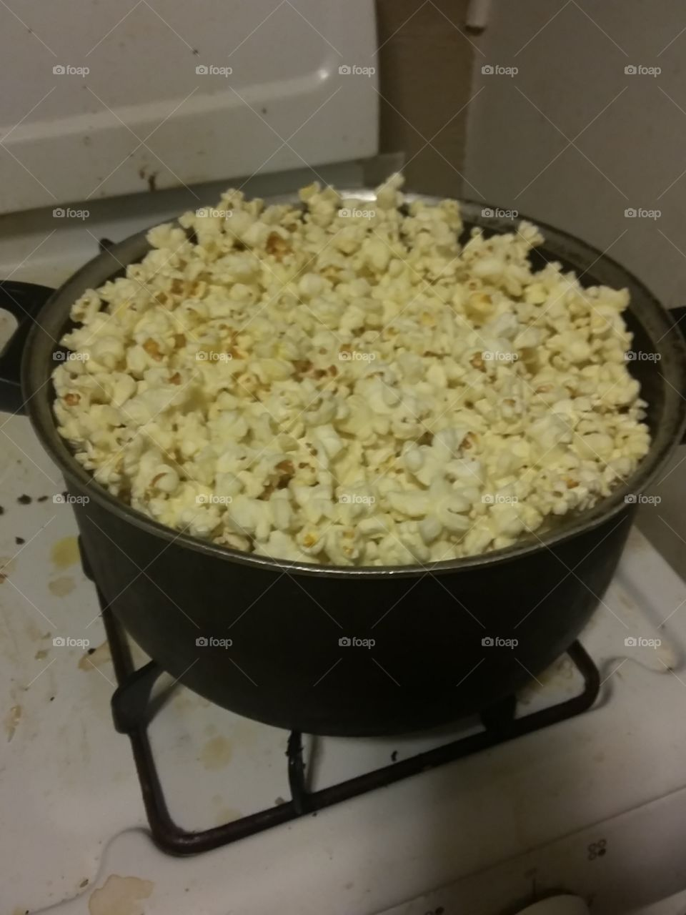 in the kitchen... Popcorn.