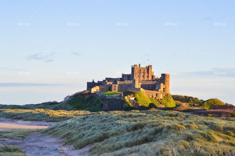 Bamburgh Castle on the Northumberland coast